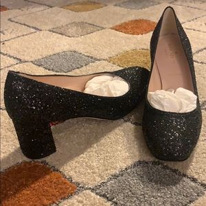Kate Spade Dolores sequin block heels